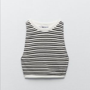Brand new with tags zara knit crop top striped
